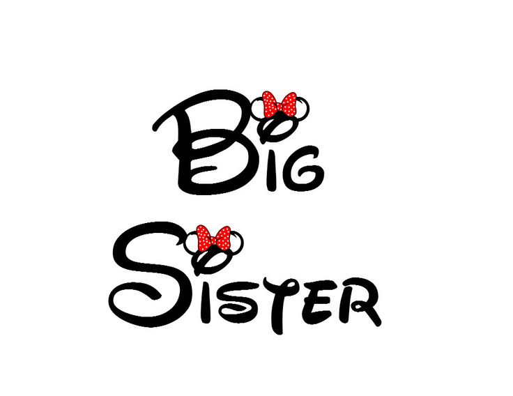 Disney Big Sister Iron on Transfer Decal(iron on transfer, not digital download). $5.00, via Etsy.
