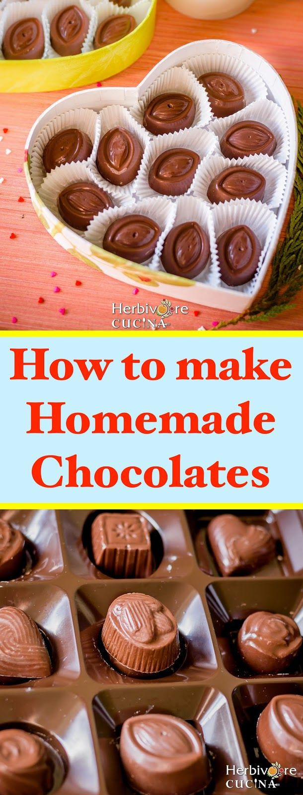 Herbivore Cucina: Homemade Chocolates...Rich, shiny and customizable DIY Chocolates. These chocolates are super delicious and better than the store bought ones! Edible gifts for the Hostess or for Valentine's Day! #chocolates #valentines #ediblegifts #DIY #homemadechocolates #sweets #gifts
