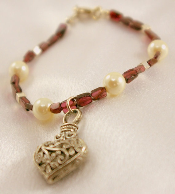 Genuine Garnet and Glass Pearl Bracelet with by BlingbyDonna, $24.00