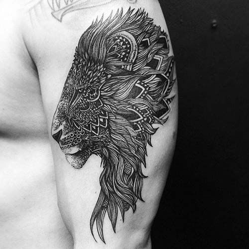 tribal mandala lion tattoo aslan dövmesi yarım kol