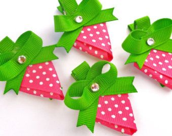 hair bow ideas | One Strawberry hair bow clip party favors--pink white green hair bows ...