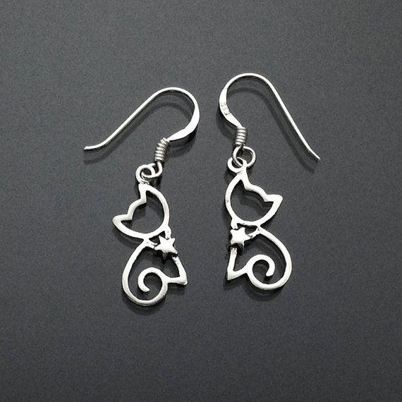 925 Solid Sterling Silver CAT Earrings/ Lovely Kitty Earrings/ Animal Jewelry / Halloween Jewelry- Small- Oxidized- Dangle