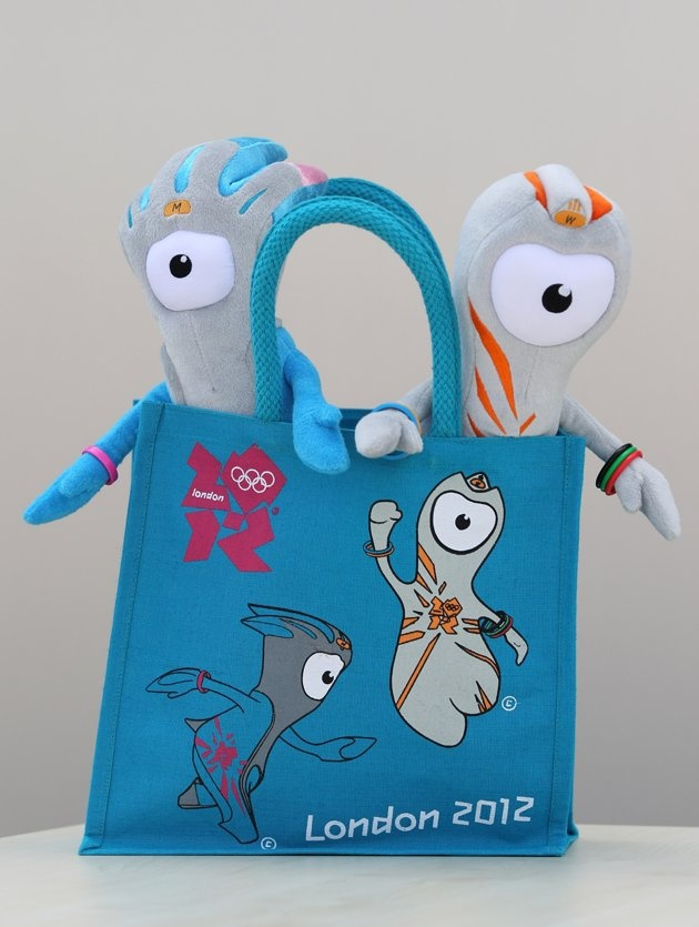 Wenlock (R) and Mandeville (L), soft toy mascots for the London 2012 Olympic Games go on display at the launch of the London Olympic Games official merchandise on July 30, 2010 in London, England.