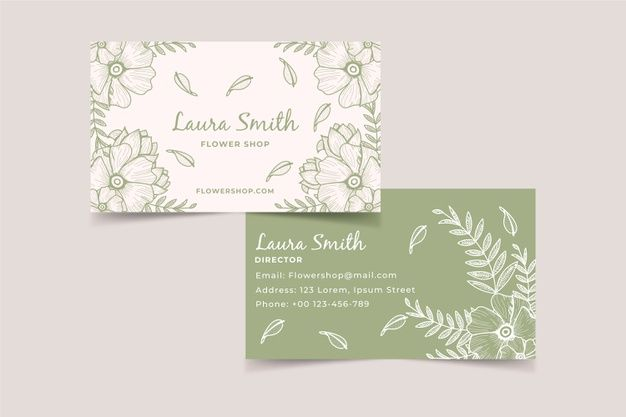 Download Realistic Hand Drawn Floral Business Card Template For Free Floral Business Cards Free Business Card Templates Card Template