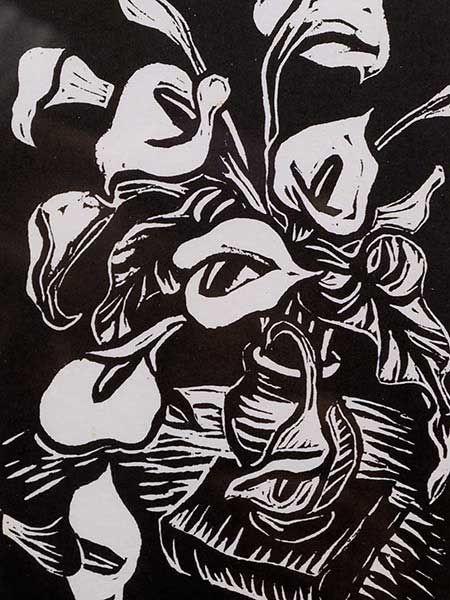 Gregoire Boonzaier | Gregoire Boonzaier (SA 1909 - 2005) Linocut, Lillies, Signed in Pencil ...