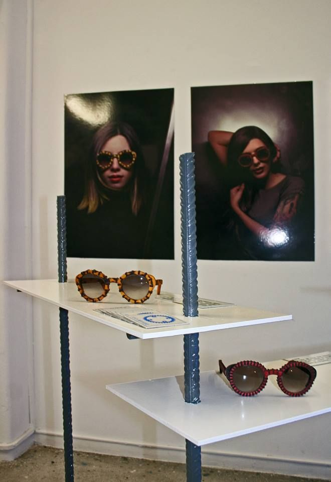 Rota Dentata Exhibition Athens. Project Space #sixdogs. Two handmade wooden sunglasses models #woodensunglasses