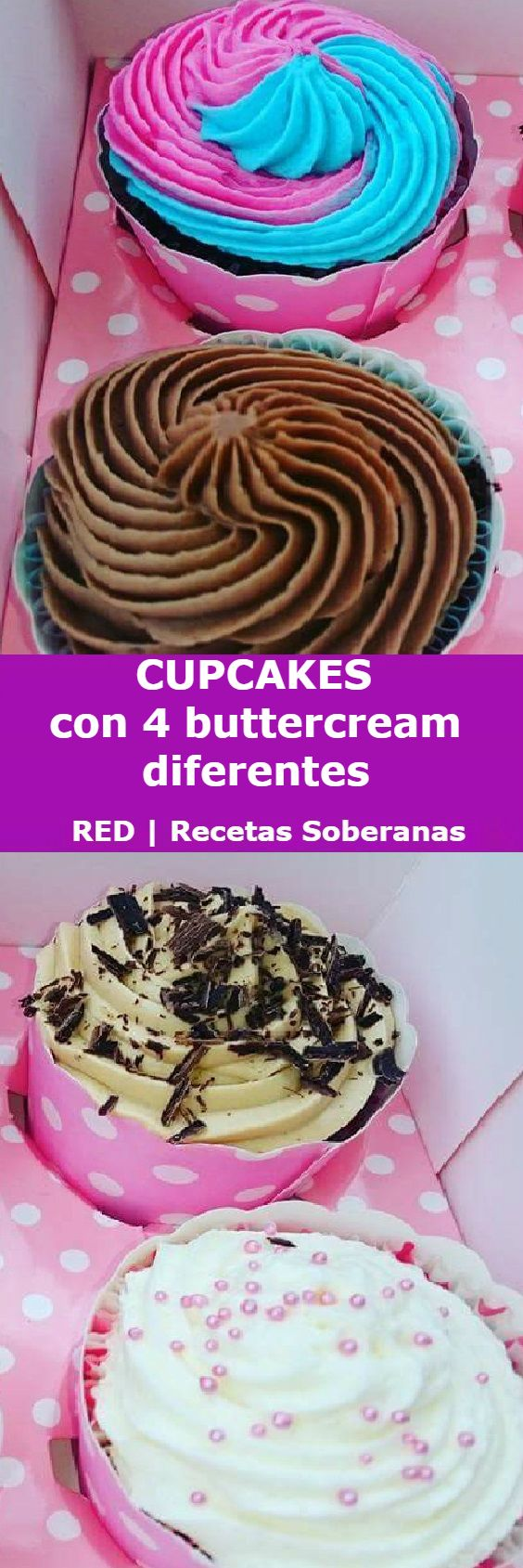 4 buttercream diferentes para cupcakes