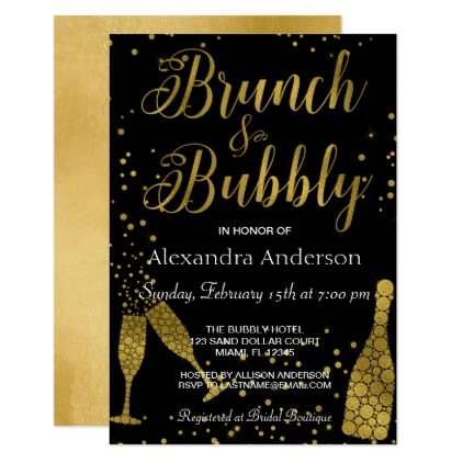Brunch and Bubbly Champagne Glasses Card - invitations personalize custom special event invitation idea style party card cards