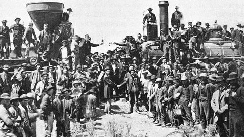 The Golden Spike ceremony at Promontory Point, Utah, on May 10, 1869, linking the railroad routes of the eastern U.S. with California
