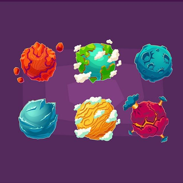 Set Of Vector Cartoon Illustrations Fantasy Alien Planets Galaxy Clipart Planet Ring Png And Vector With Transparent Background For Free Download Cartoon Illustration Planet Design Alien Vector