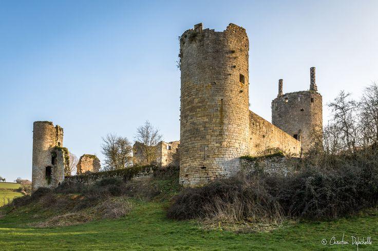 https://flic.kr/p/F4HW1o | Chateau de Commune - Martigny le Comte | Deux château sur ce petit village, Il ne subsiste du château de commune  que son enceinte qui forme un quadrilatère irrégulier, cantonné de trois tours rondes beaucoup plus hautes que les courtines et d'une tour carrée qui fut sans doute le donjon. L'ensemble, vraisemblablement bâti au xiiie siècle, était autrefois entouré de fossés aujourd'hui comblés.