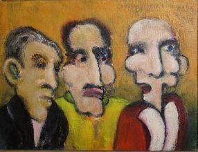 Gode rygter (orange), 2010. 40x30cm, akryl på lærred. Indrammet maleri af Rune Frederiksen, vejl. mindstepris kr.: 800,-