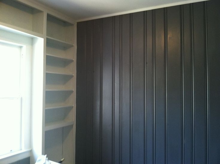 Painted dark wood paneling grey and white shelving turned out great remodel ideas pinterest Best paint for painting wood
