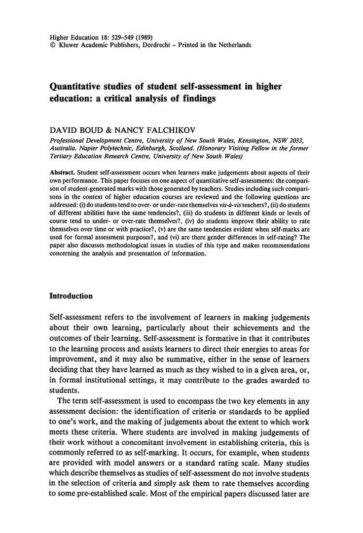 000 Quantitative studies of student selfassessment in higher