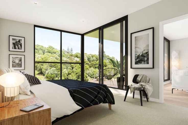 "remodelproj: ""Nice color interior scheme with dark aluminum windows. """