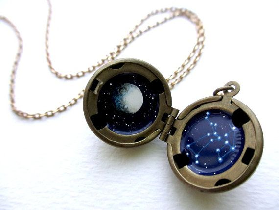 Personalized Locket, Hand-painted, Constellation Necklace, Astrological Sign in the Stars with Moon... I want one!