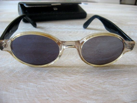 1960s Retro Sunglasses with case. French eyeglasses, original vintage eyewear. See through frames, black arms, mirrored lens. Made in France @PumpjackPiddlewick on Etsy