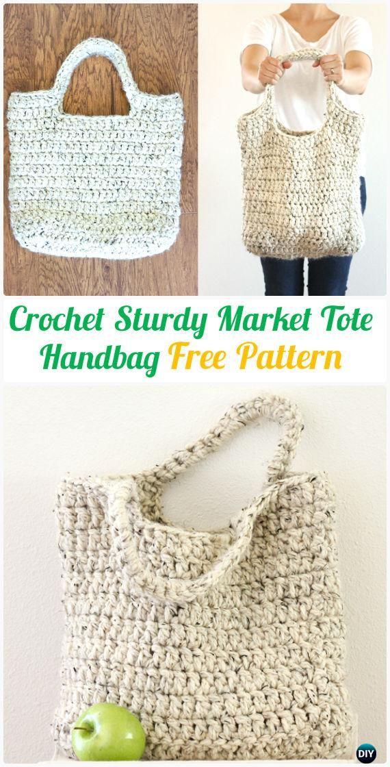 Crochet Sturdy Market Tote Handbag Free Pattern - #Crochet Handbag Free Patterns