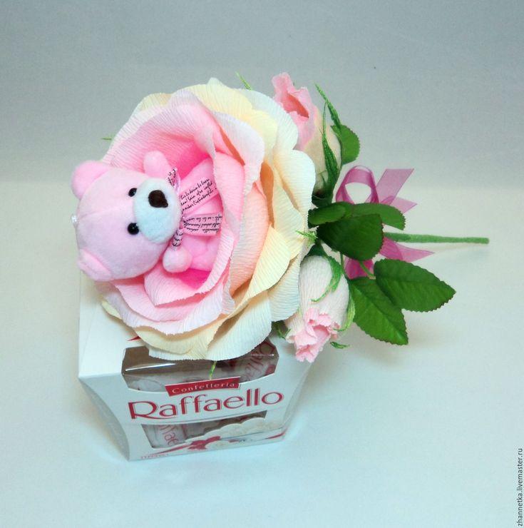 """Купить Роза с """"Мишкой"""". - розовый, роза с бутонами, подарок, подарок девушке, подарок подруге, презент"""