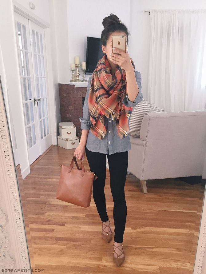 (Click the photo for all outfit details!) Easy fall outfit idea: chambray denim shirt, plaid blanket scarf, black leggings (comes in regular & petite), lace-up flats.