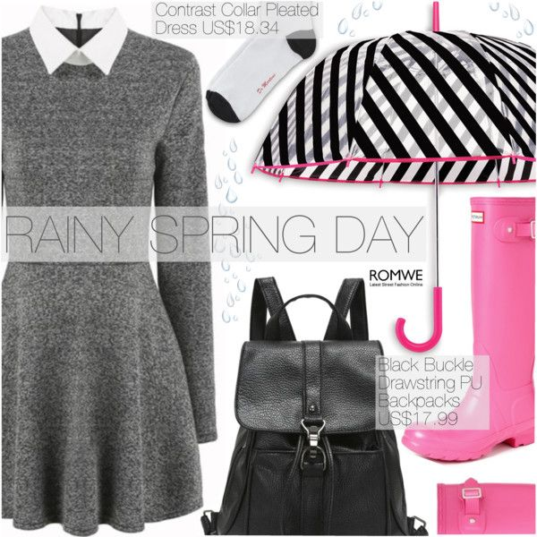 Street Style by pokadoll on Polyvore featuring polyvore, fashion, style, Dr. Martens, Hunter, Kate Spade, clothing and romwe