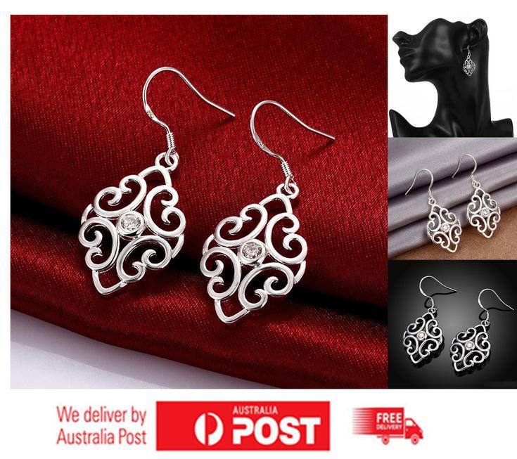 925 Sterling Silver Filled Bohemian CZ Zircon Leaf Women  Drop Dangle Earrings