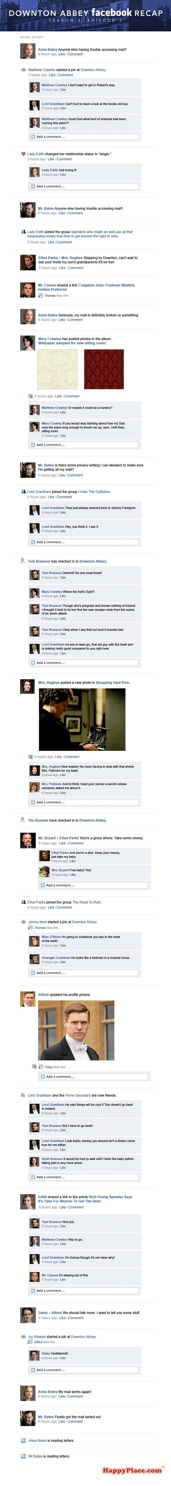 Downton Abbey Facebook Recap Season 3 Episode 3   If downton abby was played out on FB. too funny! {don't read unless you have already watched episode 3}