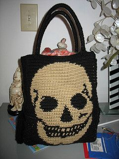 Skull panel PATTERN LINK! This is an example of what you can do with the skull crochet pattern. Other ideas would be a handbag, pillow, afghan, sweater, backpack, or any other project with the correct row length and stitch w...