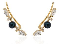 Arya Collection gold vermeil black pearl pave ear climbers