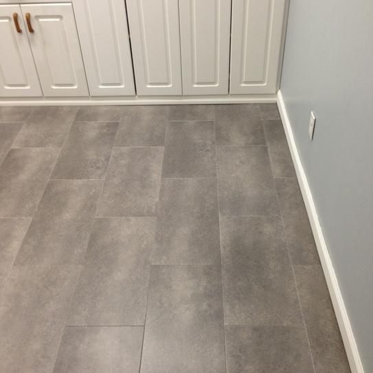 From The Home Depot Trafficmaster Ceramica 12 In X 24 Coastal Grey Resilient Vinyl Tile Flooring