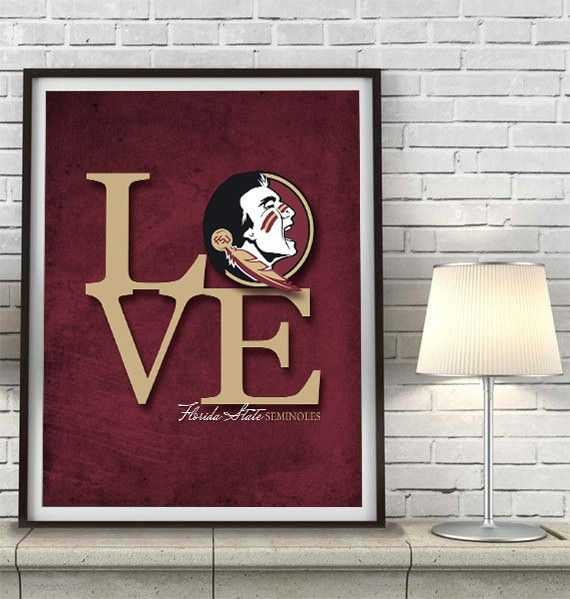 """Florida State University Seminoles FSU """"Love"""" ART PRINT Some people like their team. Others absolutely LOVE their team! Which are you? A perfect gift for your sports lover, a wedding gift for that cou"""