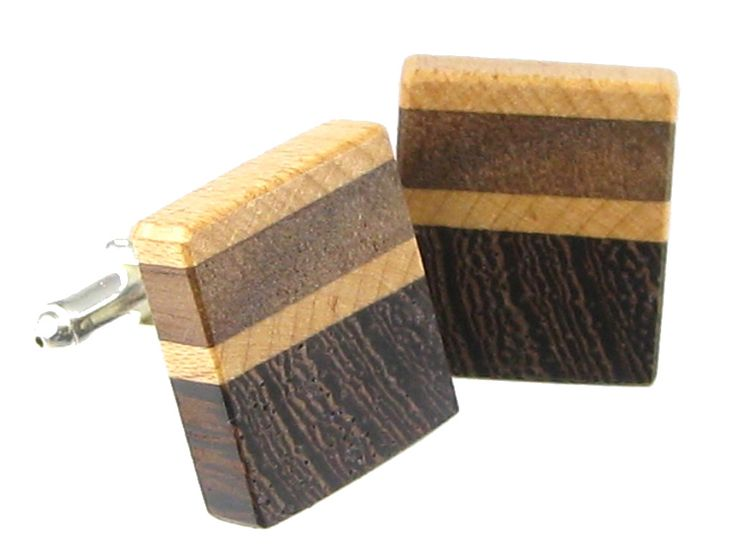 Handmade from natural wood free of dyes or stains. Wooden cufflinks in wenge, maple and black walnut with plated silver post and toggle. Lightweight. - SKU: 922