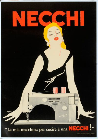 Necchi Sewing Machines! This is an old advertisement from the 1950s.