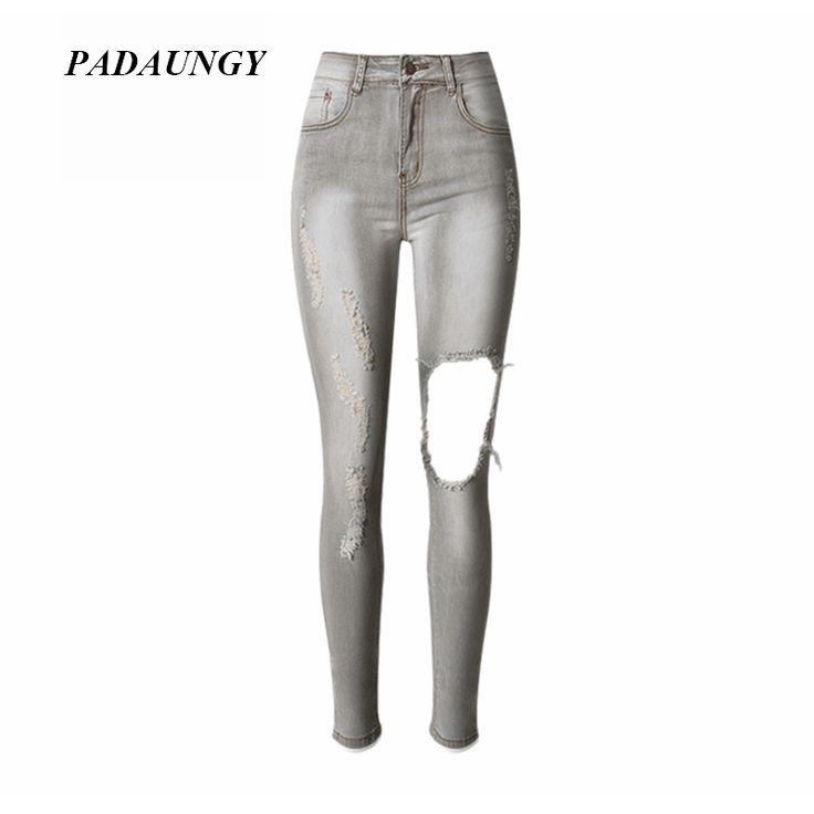 PADAUNGY New Ripped Jeans For Women Denim Torn Pants High Waist Jeggings Pantalon Femme Skinny Trousers Slim Fit Jean Femme