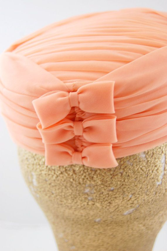 60s Peach Pillbox Hat with bows Peach door FrocksnFrillsVintage