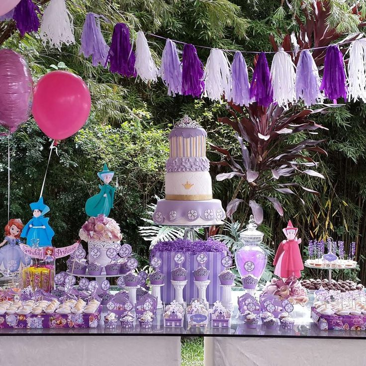 Purple dessert table at  a Princess Sofia birthday party! See more party ideas at CatchMyParty.com!