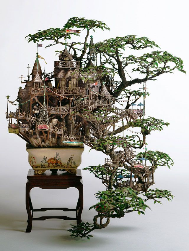 Incredibly Elaborate Tiny Building Sculptures by Takanori AibaMiniatures, Bonsai Trees, Fairies, Tree Houses, Art, Takanoriaiba, Treehouse, Trees House, Takanori Aiba