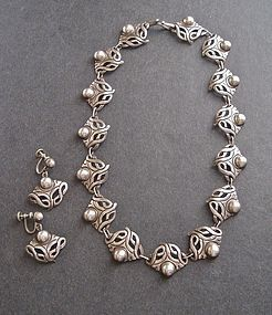 Vintage Taxco Sterling Necklace Earrings Set Pre Eagle