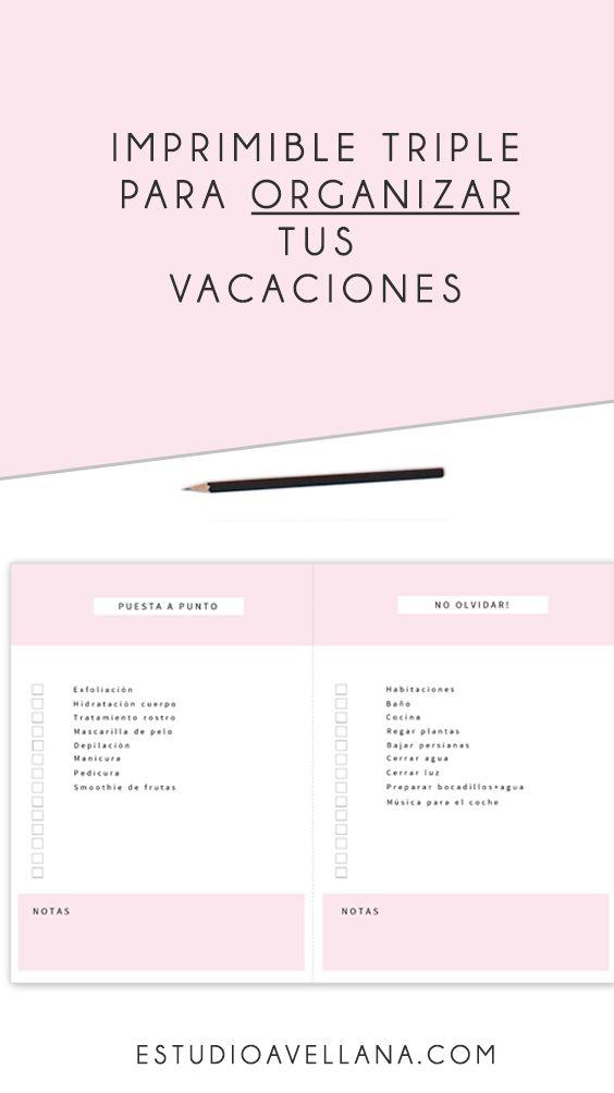 Imprimibles GRATIS para organizar las vacaciones //