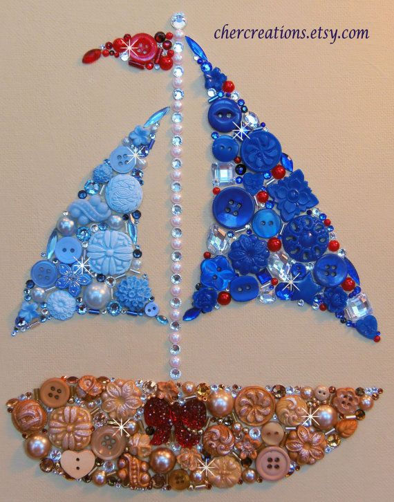 SAILBOAT 8x10 Button Artwork. One of a Kind by CherCreations