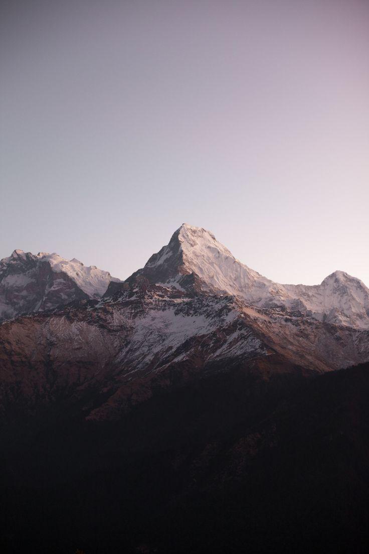 Tags: mountain range, peak, snow capped, clear sky, purple hue