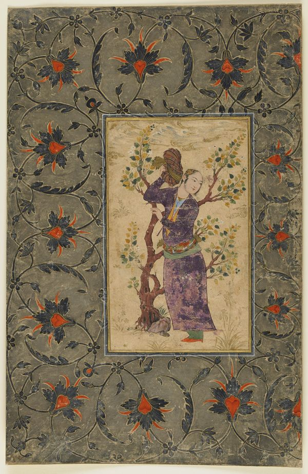 Youth holding his turban | circa 1630-1640, Safavid period | Opaque watercolor and gold on paper; H: 37.9 W: 24.4 cm; Isfahan, Iran