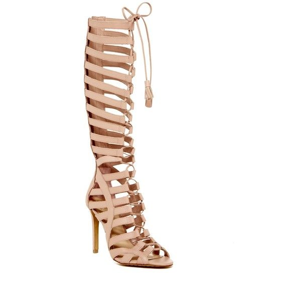 Vince Camuto Olivian Gladiator Boot ($120) ❤ liked on Polyvore featuring shoes, boots, back zip boots, front lace up boots, lace up boots, laced boots and back zipper boots