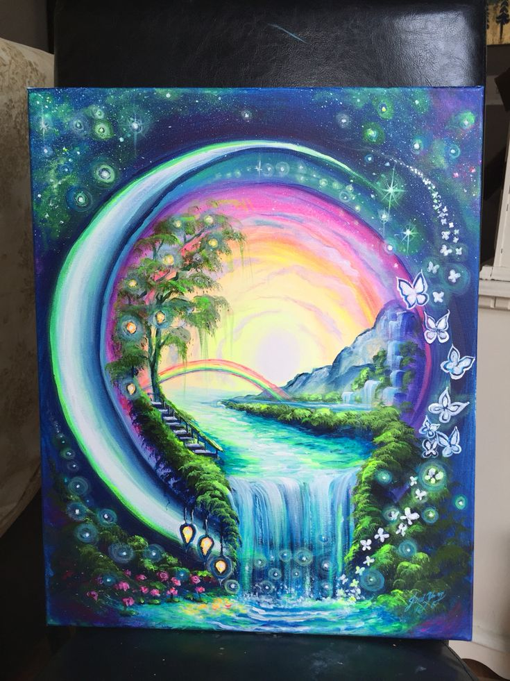 Unique painting idea, a world in an orb with rainbow, waterfall, flowers and butterflies. #tattoo