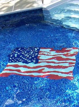 Add patriotic flair to your pool for your Fourth of July party with this American Flag Pool Mat.