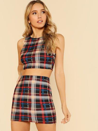 91aca74402 Plaid Print Crop Top And Skirt Set -SheIn(Sheinside)   Shien   Crop ...