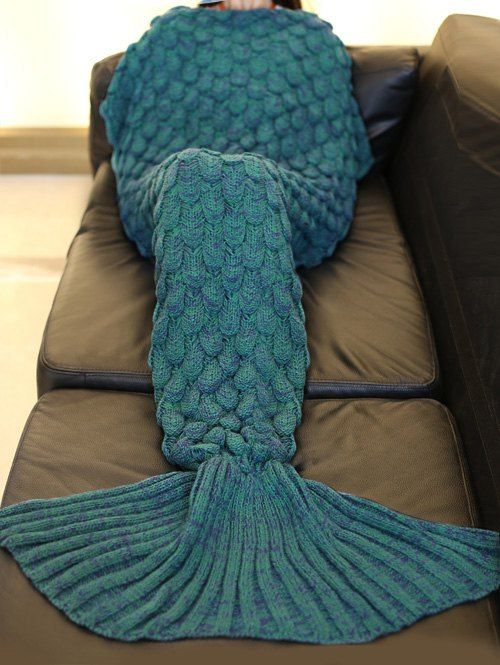 Stylish 2016 Fish Scale Tail Shape Sleeping Bag Mermaid Design Knitting Blanket