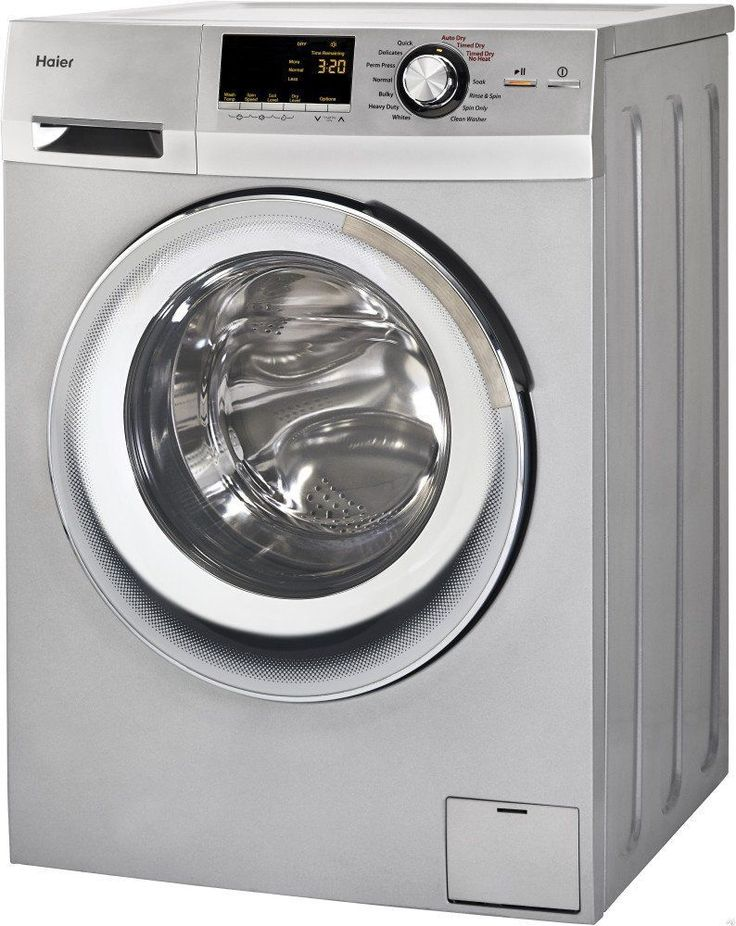 haier stackable washer and dryer. haier wide front load washer and dryer combination, silver stackable