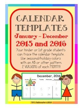 Calendars for your kinders or first graders to trace the dates! Students can then use seasonal or holiday colors to trace again, using an AB or other pattern. Print additional holidays, birthdays, or other school specific events. Add your own calendar header for the month.