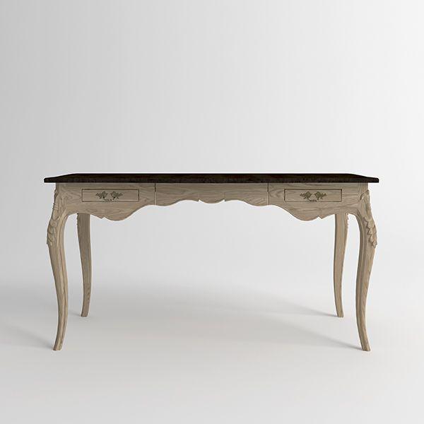Письменный стол Versalles из массива ясеня. Артикул: D004. Размеры ДхШхВ: 150x70x75 см. Материал: дуб, ясень. Цвет: старый орех, натуральный ясень